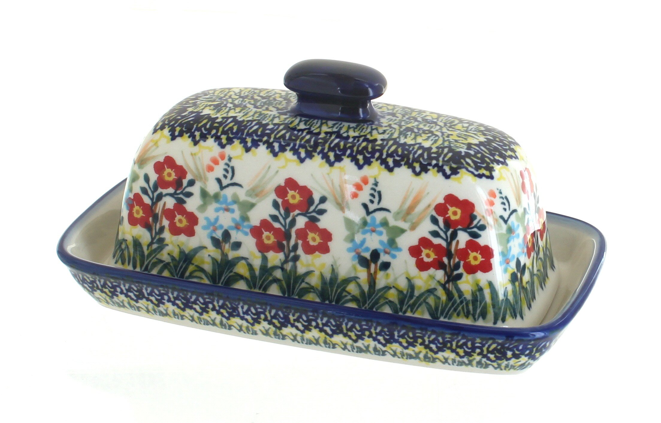 Blue Rose Polish Pottery Garden Field Butter Dish by Manufaktura (Image #1)