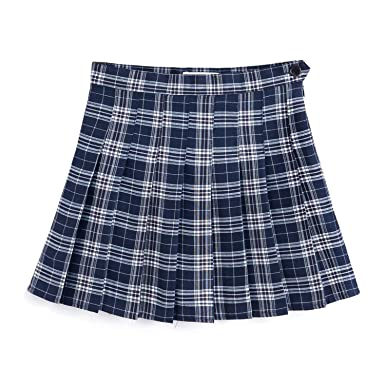 06a70e5e2 YOUGUE Women High Waist Skater Flared Check Plaid Pleated Short Mini Skirt  Navy Blue