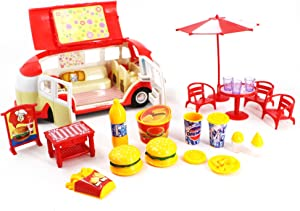 Toyzabo Fast Food Truck Toy Food Truck Food Truck Toys for Toddlers Toys Food Truck Food Toy Truck Fast Food Truck Toys for Kids Great Gift for Christmas, Holidays, Birthdays for Boys and Girls