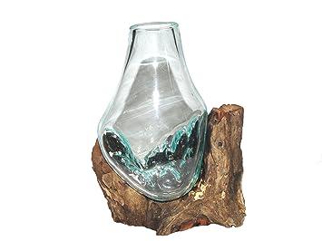 Vase en verre Vase 25 cm individuellement sur bois flotté/bois de ...