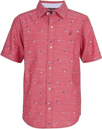 Nautica - Camisa de manga corta con botones - Rojo - Small: Amazon.es: Ropa y accesorios