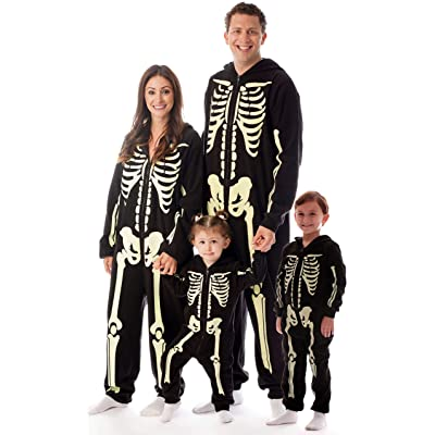 #followme Glow in The Dark Skeleton Jumpsuit Pajamas Family Sleepwear: Clothing