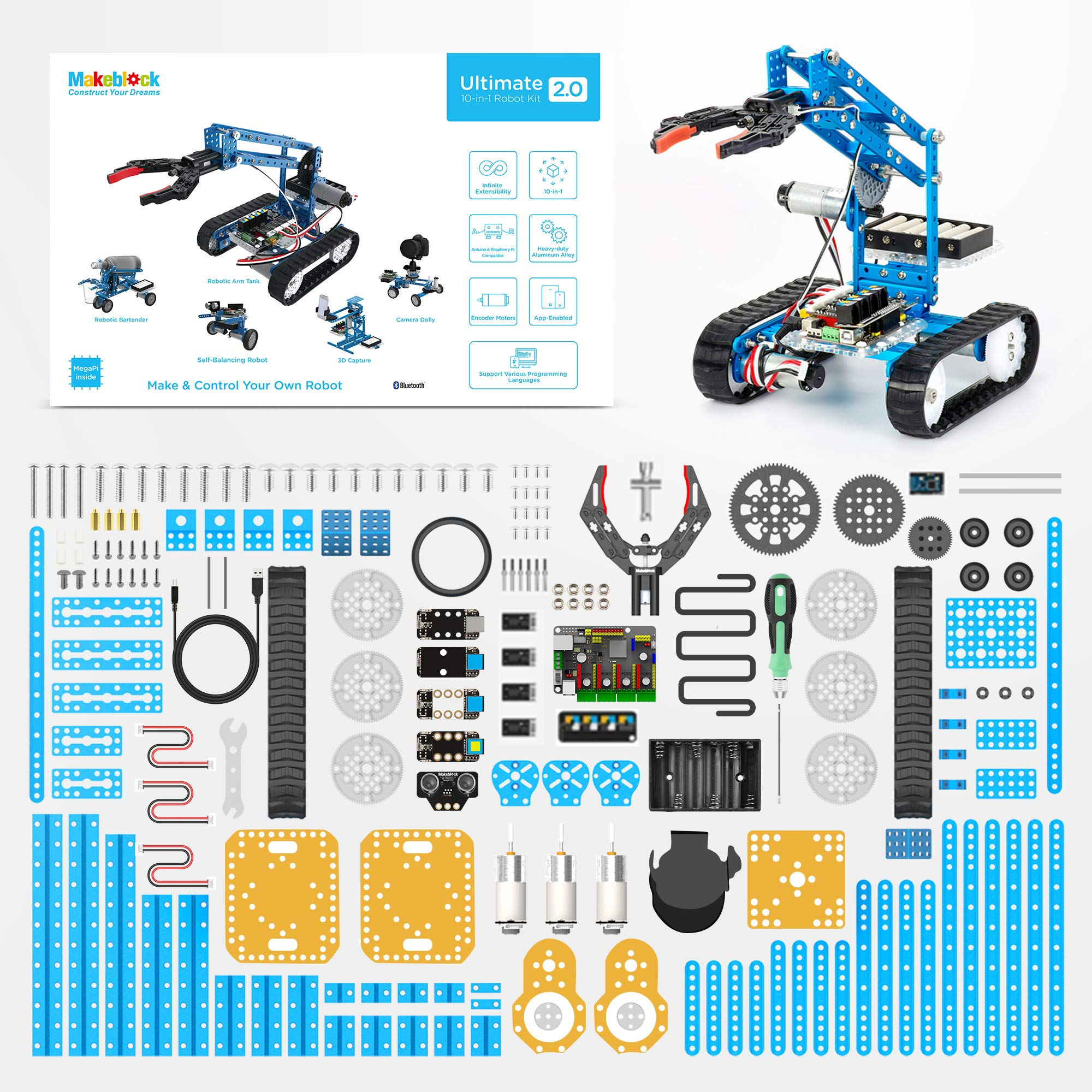 Makeblock DIY Ultimate Robot Kit - Premium Quality - 10-in-1 Robot - STEM Education - Arduino - Scratch 2.0 - Programmable Robot Kit for Kids to Learn Coding, Robotics and Electronics by Makeblock (Image #8)