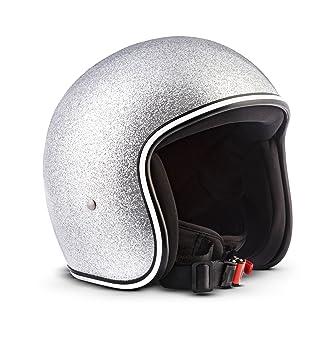 Rebel R2-Flakes–Casco retro de motocicleta scooter Vespa,