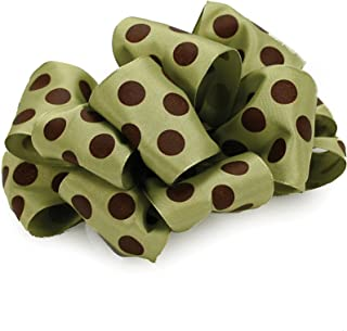 product image for Offray Wired Edge Ringleader Dots Craft Ribbon, 1-1/2-Inch Wide by 10-Yard Spool, Green/Brown