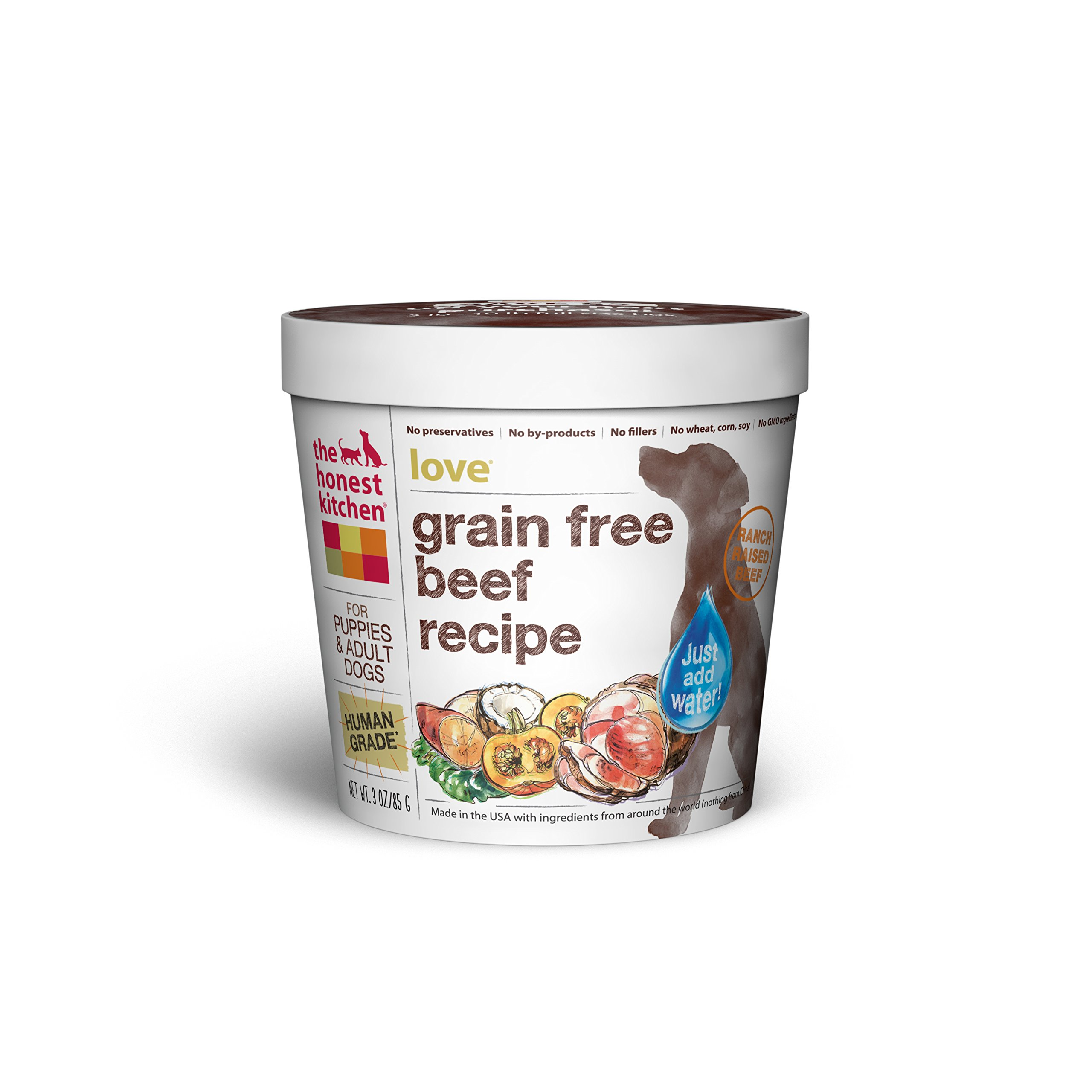 Honest Kitchen The Human Grade Dehydrated Grain Free Beef Dog Food, Single Serve Cup (Tray of 8) - Love