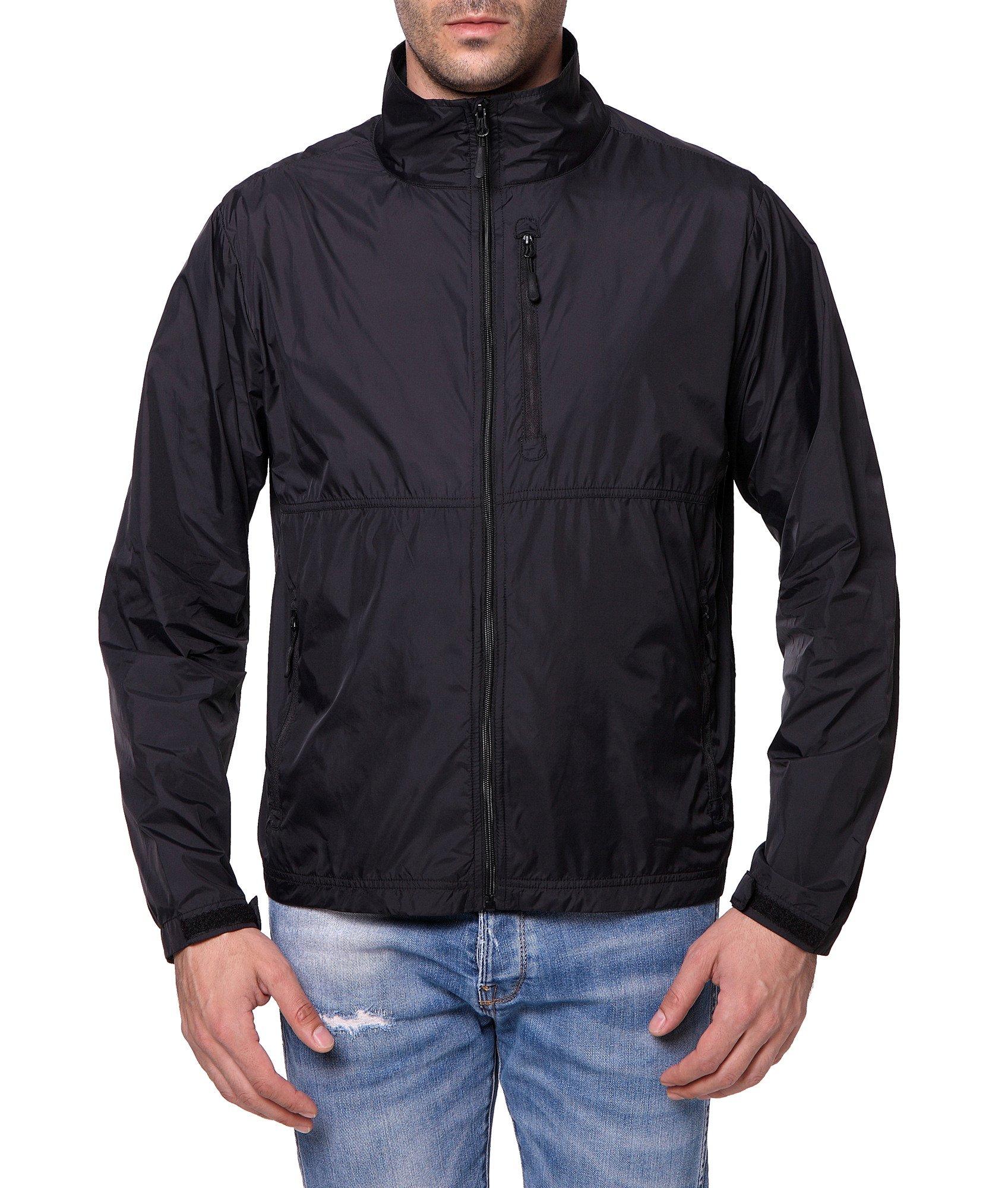 Trailside Supply Co. Men's Standard Water-Resistant Nylon Windbreaker Front-Zip up Jacket, Jet Black, Large by Trailside Supply Co.