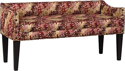 Overstock Leffler Home Whitney Long Upholstered Bench with Arms and Nailhead Trim in Pixel Ruby