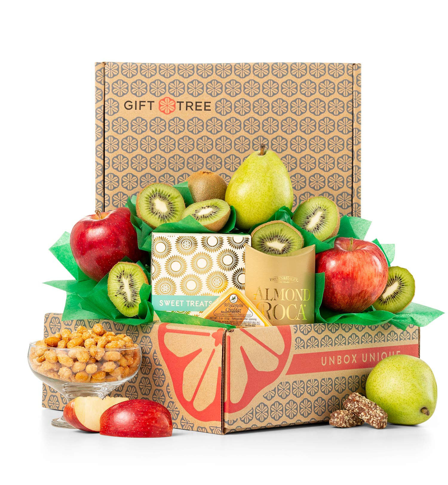 GiftTree Harvest Fruit and Snack Gift Box   Includes Delicious Apples, Kiwis, Pears and Almond Roca   Great Gift for Holidays, Christmas, Birthday, Thank You