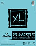 Canson XL Series Oil and Acrylic Paper Pad, Bleed Proof Canvas Like Texture, Fold Over, 136 pound, 11 x 14 Inch, White…