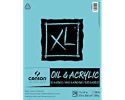 Canson XL Series Oil and Acrylic Paper Pad, Bleed Proof Canvas Like Texture, Fold Over, 136 pound, 11 x 14 Inch, White, 24 Sh