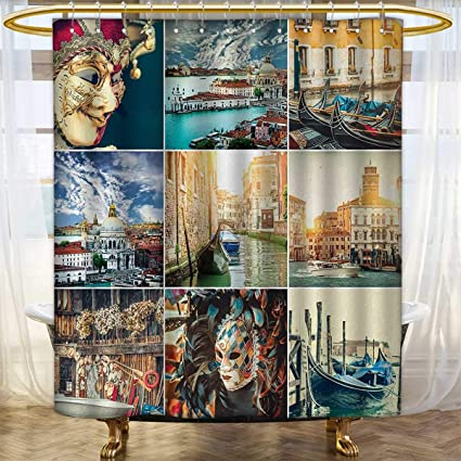 Anhounine Italian Shower Curtains Digital Printing Designed Masks For Carnival Of Venice Baroque Style Gondolas River