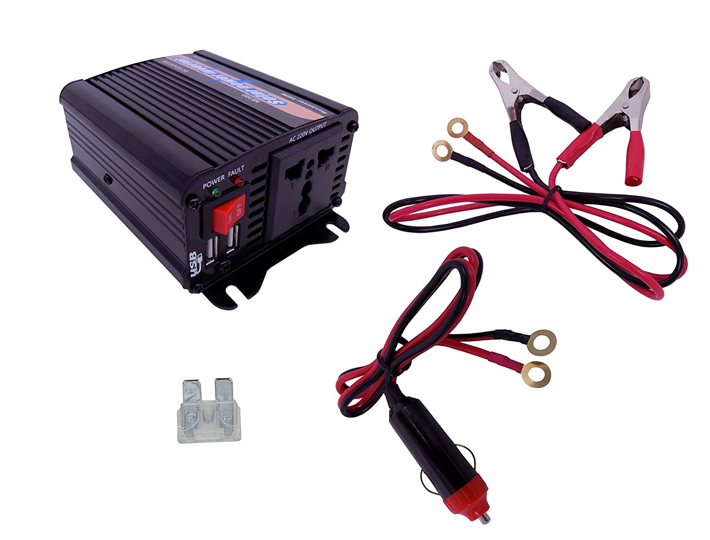 YJS 300W Solar Wechselrichter DC 12V to AC 230V 240V Transformator Auto Ladeger/ät Feuerzeug Adapter mit 3-poligem Stecker und Zwei USB-Anschl/üssen
