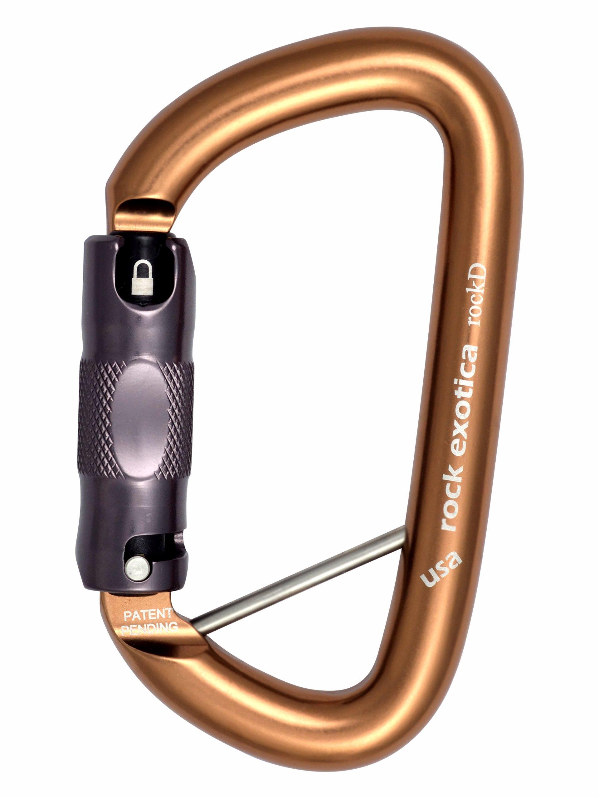 Rock Exotica rockD Locking Carbiner - Auto-Lock w/ Lanyard Pin