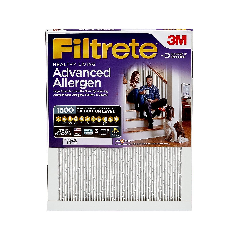 Filtrete 14x14x1, AC Furnace Air Filter, MPR 1500, Healthy Living Ultra Allergen, 6-Pack