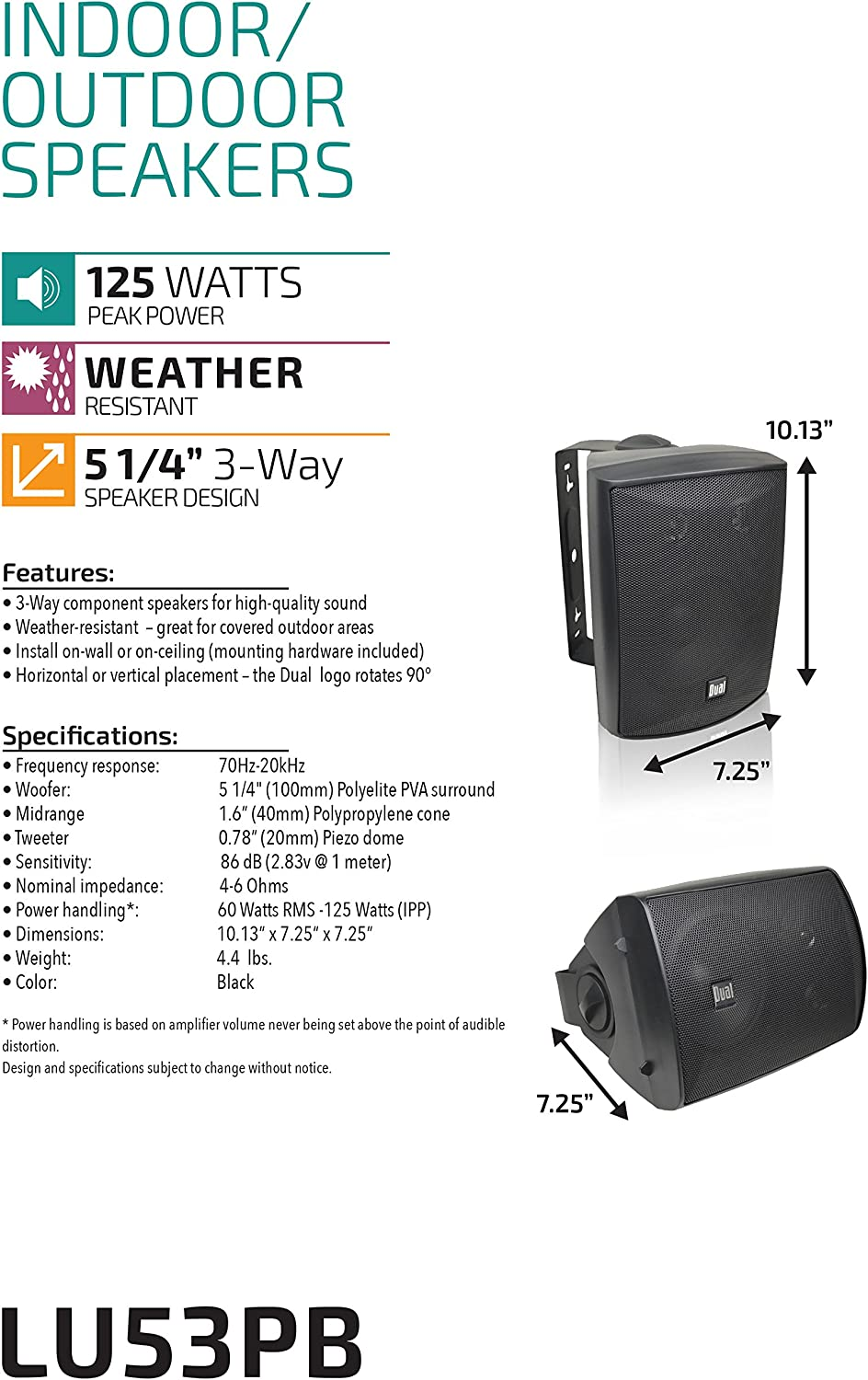 Pair Brand New Dual LU53PB 125 Watt 3-way Indoor//Outdoor Speakers in Black