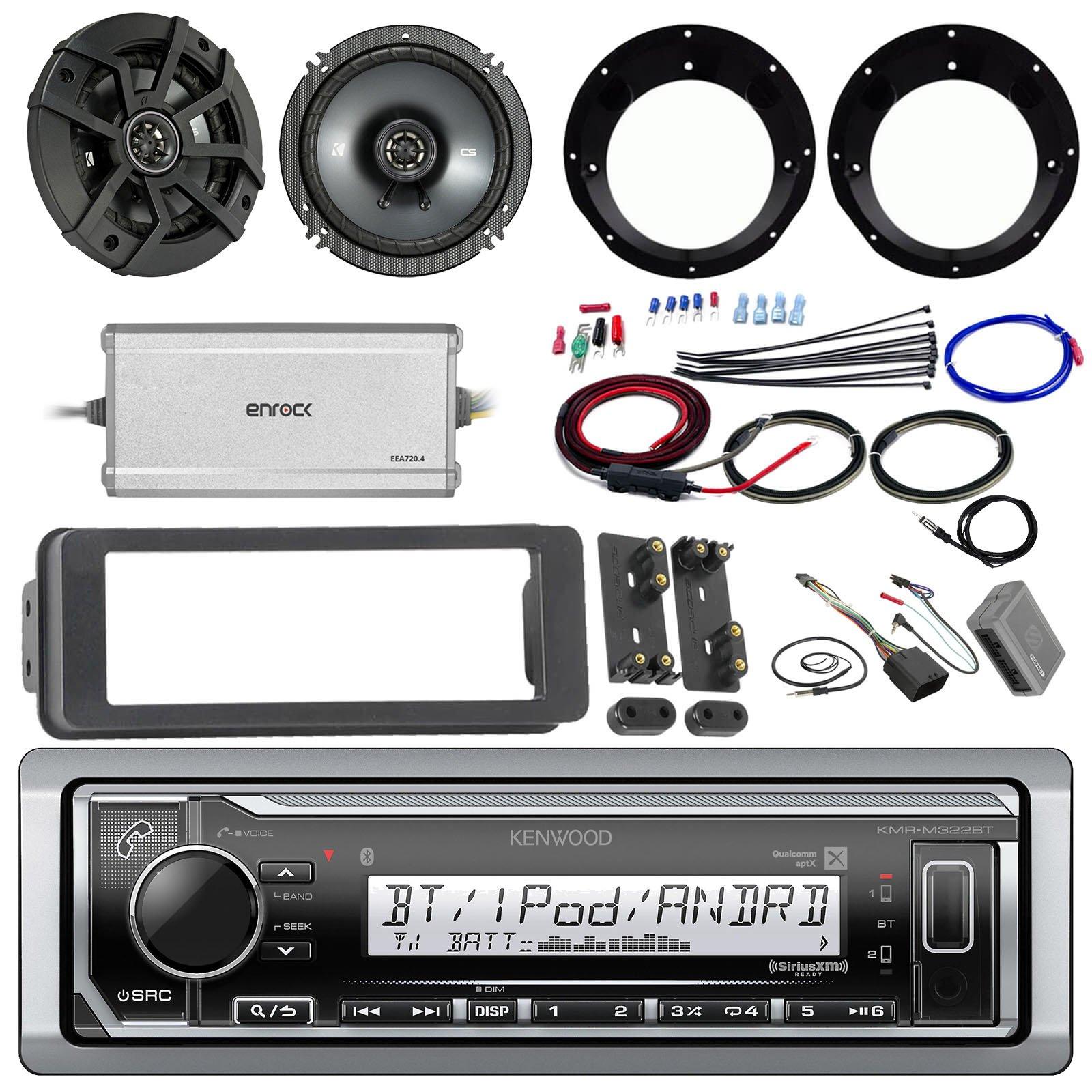 Kenwood KMR-M315BT Stereo Receiver Bundle W/ 2 Kicker 6.5'' Speaker W/ Motorcycle Speaker Adapters + Class D Amplifier W/ Amp Kit + Dash Trim Kit W/ Handle Bar Conroller + Enrock Antenna