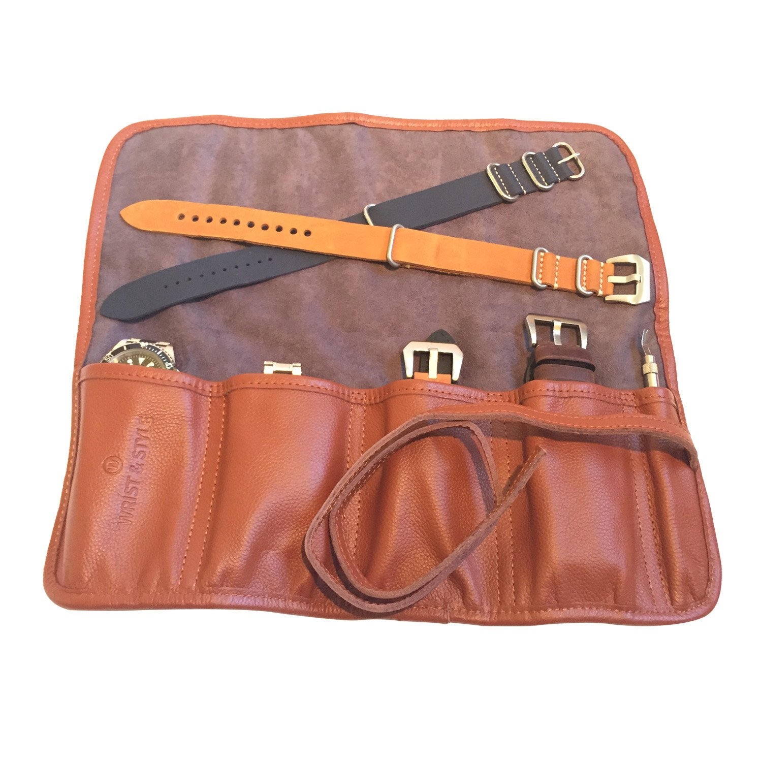 Leather Watch Roll by W&S for Travel and Storage for Watches: Pockets Securely Hold Watches Straps, Tools and Accessories (4-Slot Brown)