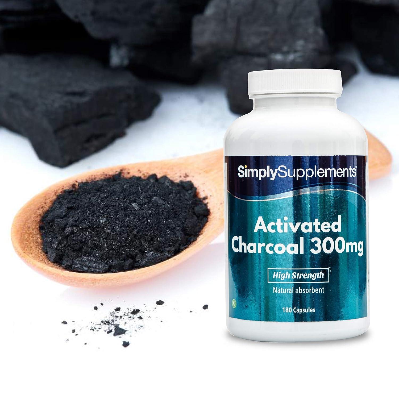Cárbon activado 300mg - ¡Bote para 3 meses! – Apto para veganos – 180 comprimidos – simplySupplements