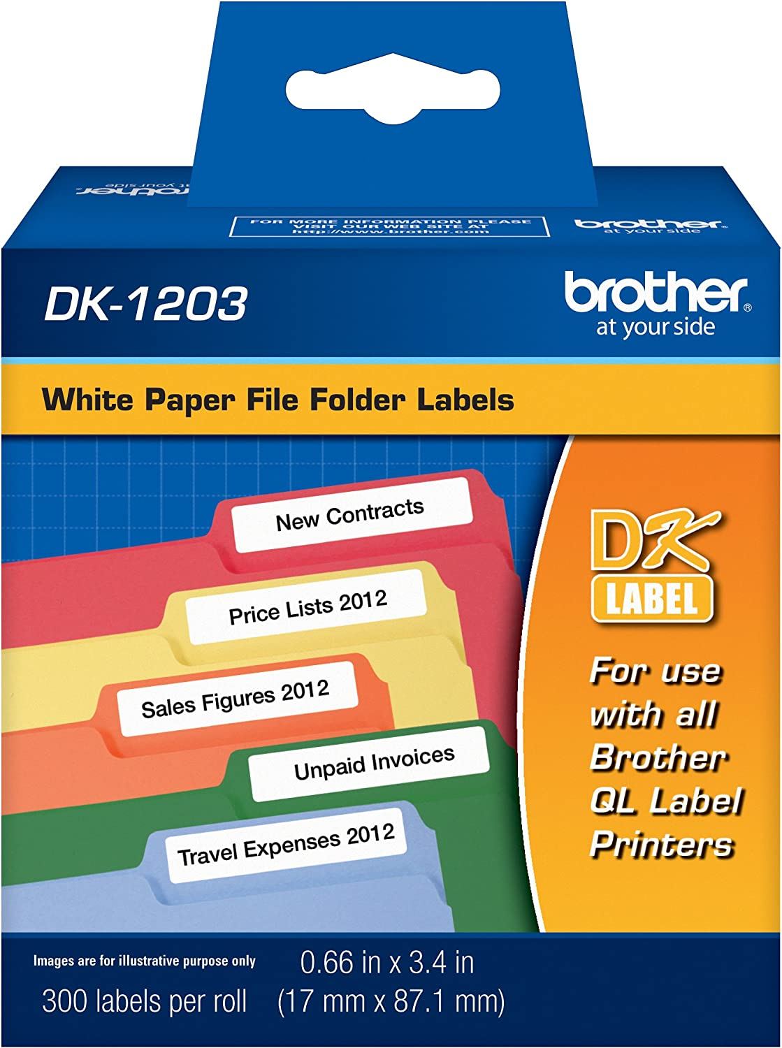 Brother DK-1203 File Folder Label Roll : Labeling Tape : Office Products