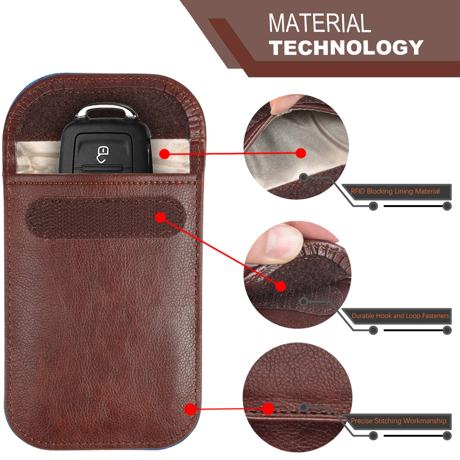 Synthetic Leather RFID signal blocker Keyless Entry Fob Pouch,Anti Theft Faraday Protection Bags-Black+Wine Red,2Pack Faraday Bag for Car Keys