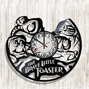 The Brave Little Toaster Animated Musical Comedy Film Handmade Vinyl Record Wall Clock, Get Unique Bedroom or Nursery Wall Decor - Gift Ideas for Kids and Teens - Unique Art Design