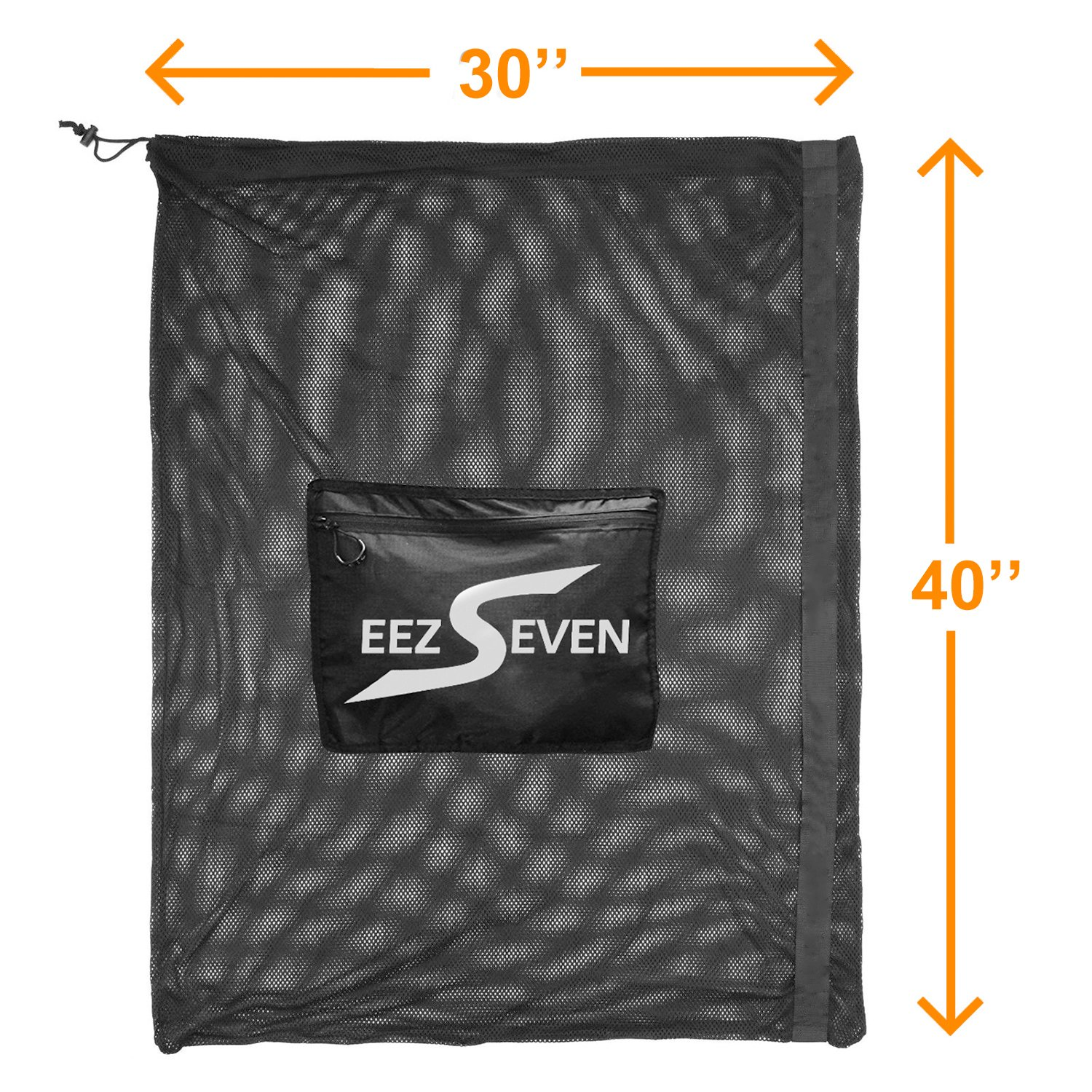 Heavy Duty Extra Large Ball Mesh Bag Soccer Ball Bag Equipment Bag For Sports Beach and Swimming Gears. Adjustable Shoulder Strap For Adults and Kids. Side Pocket for Your Personal Item 30 x 40 Inches by EEZSEVEN (Image #5)