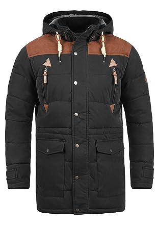 Solid Dry Long Herren Winter Jacke Parka Mantel Winterjacke gefüttert mit  Stehkragen und Abnehmbarer Kapuze 844d2cb484