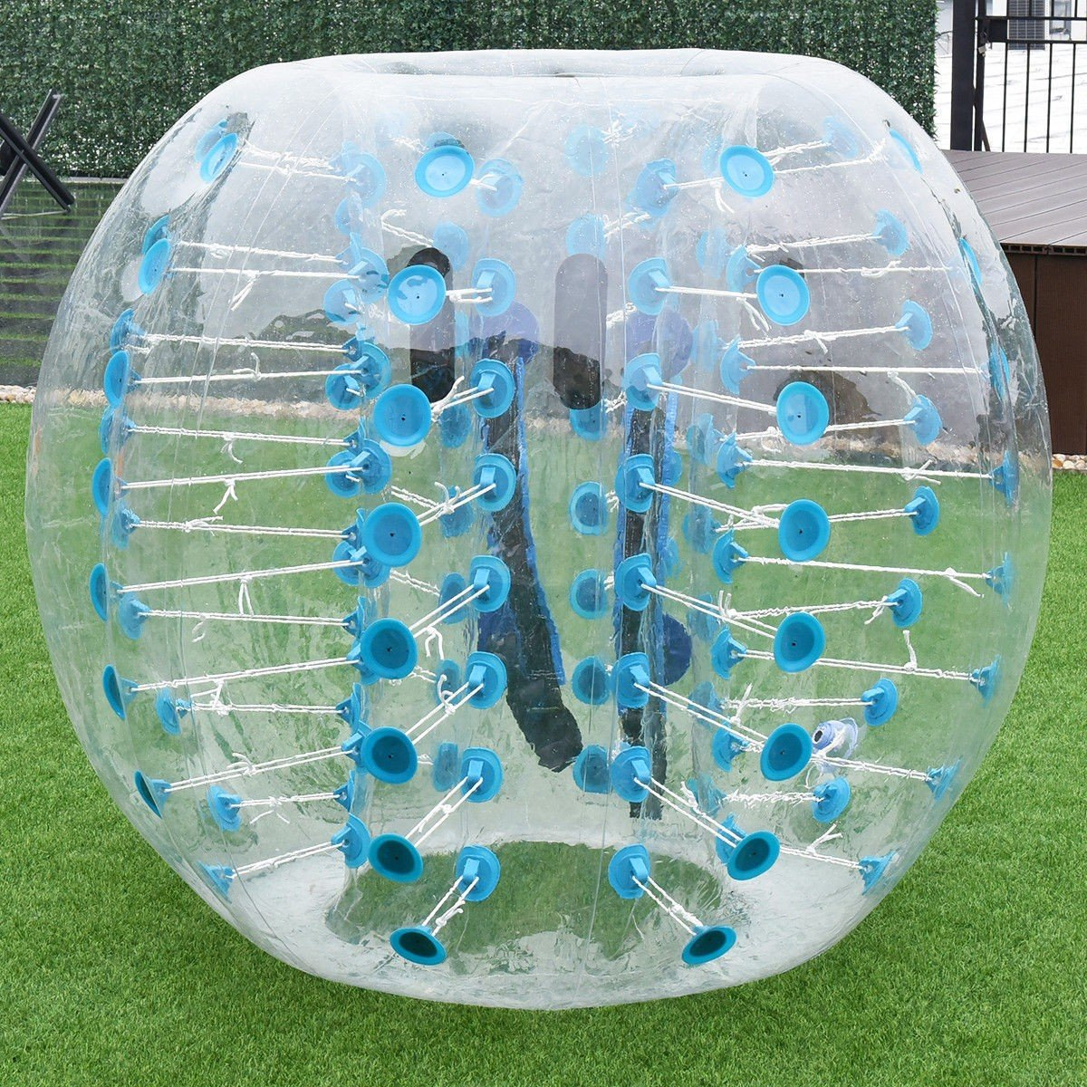 MD Group Inflatable Bumper Ball 1.5M Dia. 5' PVC Lightweight Sky Blue Transparent Outdoor by MD Group