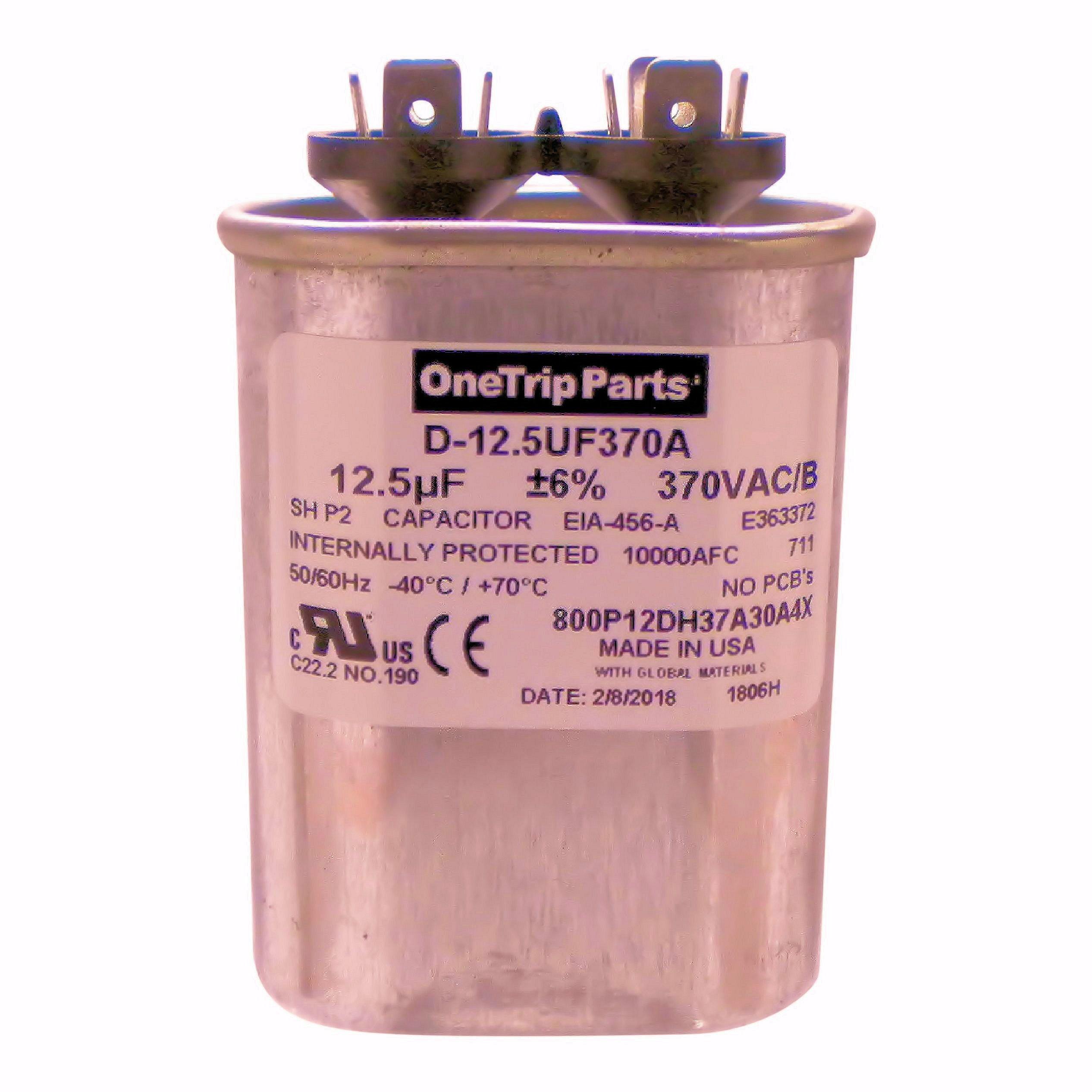 OneTrip Parts USA Run Capacitor 12.5 UF - 12.5 MFD 370 VAC Flat Oval