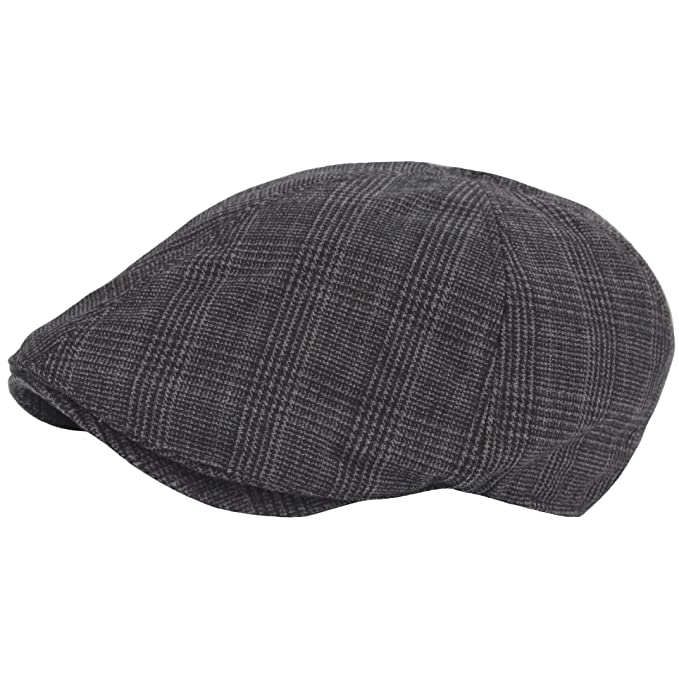 26b663306f230 RaOn N344 Houndstooth Check Style Newsboy Cap Beret Cabbie Flat Golf Club  Gatsby Hat (Black