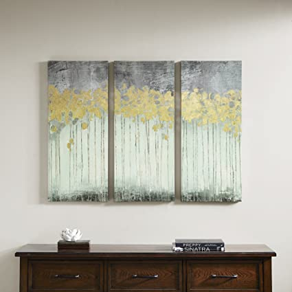 Amazon.com: Evening Forest Grey Canvas Wall Art 15X35 3 Piece Multi ...