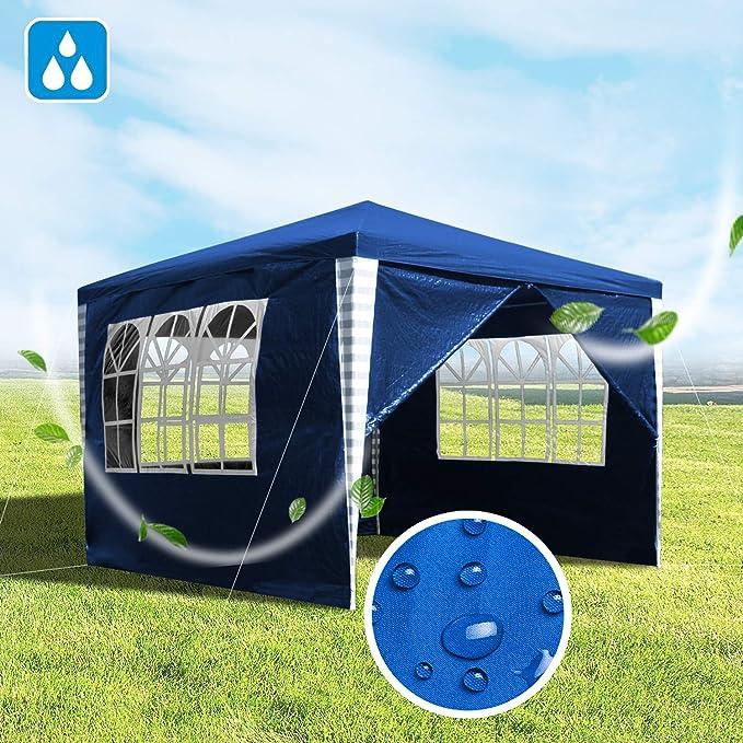wolketon Pavillons 3x3m Gartenpavillon mit 4 Seitenteile wei/ß Partyzelt f/ür Camping Hochzeit und Festival