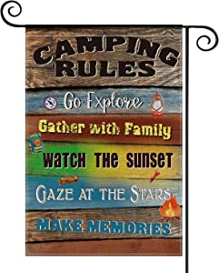 AVOIN Camping Rules Slogan Wood Garden Flag Vertical Double Sized Gather with Family, Compass Rucksack Fire Yard Outdoor Decoration 12.5 x 18 Inch