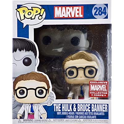 "POP! Marvel #284 The Hulk and Bruce Banner Exclusive 6"" Collector Corps Vinyl Bobble-Heads Figure: Toys & Games"