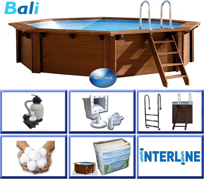 Interline 50700210 Bali - Piscina para instalación sobre Tierra y enterrada, Paredes de Madera, Redonda, 4,40m x 1,36m, Filtro de Arena de 4m³/h