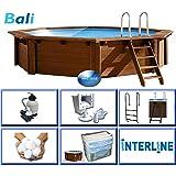 Interline 50700210 Bali Auf-und Erdeinbau Holzwand Rund Pool 4,40m x 1,36m, Sandfilter 4m³/h
