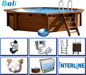 Interline 50700205 Pool Bali Madera Pared de 6 Rectangular, 3, 55 m de diámetro x 1, 16 m: Amazon.es: Jardín