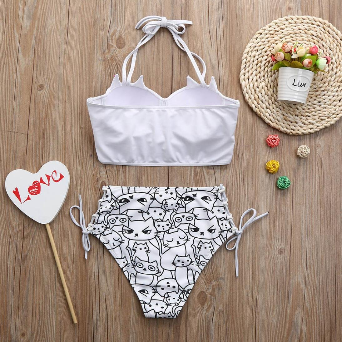 43aaf6eb6ced9 Amazon.com: Paymenow Clearance Women Girls Halter Padded Cute Cat Printed  Crop Top Bikini Two Pieces Swimsuit: Clothing