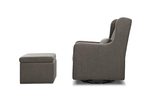 Stupendous Carters By Davinci Adrian Swivel Glider With Storage Ottoman In Charcoal Linen Water Repellent And Stain Resistant Fabric Pabps2019 Chair Design Images Pabps2019Com