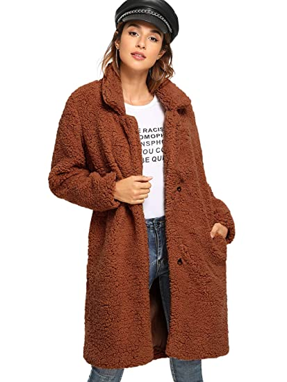 4510e905cb3 Amazon.com  ROMWE Women s Collar Warm Long Sleeves Fuzzy Casual Coat  Outwear Jacket with Two Side Pockets  Clothing