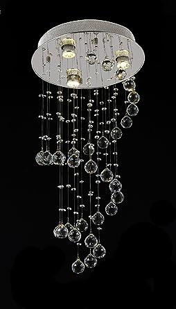 WENSENY Escalera de caracol lámpara de araña de cristal con 3 luces Lámpara Luminarias de techo de techo en cromo plateado lámpara de techo Colgante: Amazon.es: Iluminación