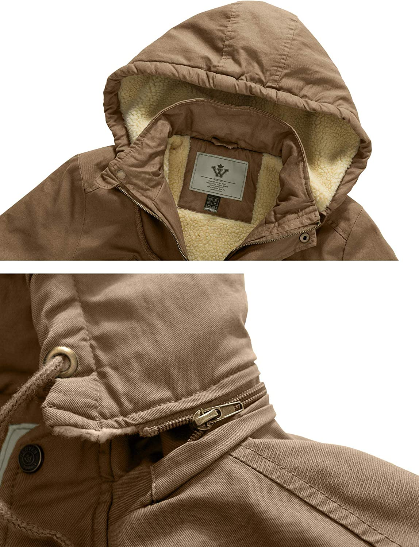 WenVen Women's Mid-Length Winter Cotton Jacket Hooded Coat Khaki