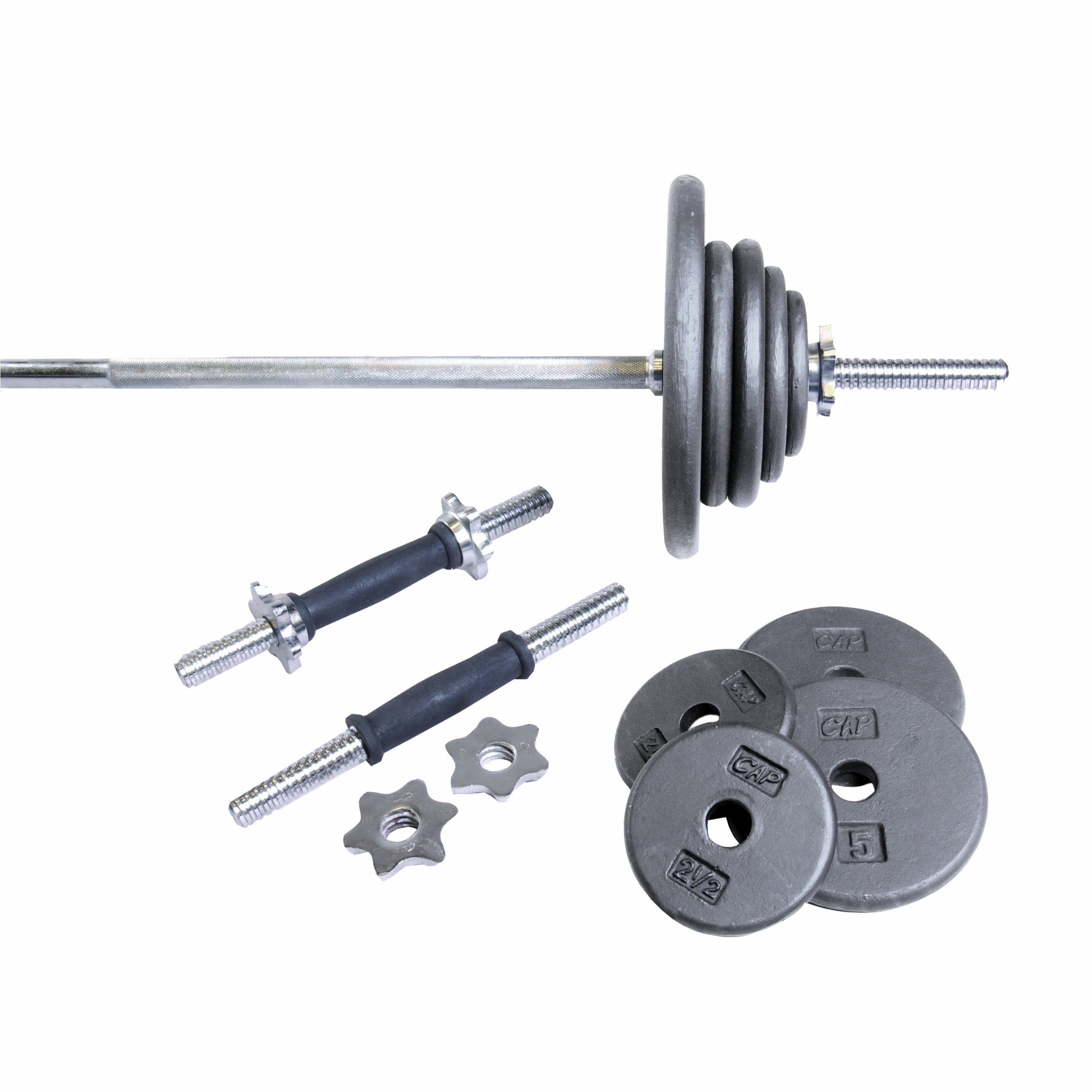 CAP Barbell Regular 110-Pound Weight Set with 5-Feet Threaded Standard Bar (Grey)
