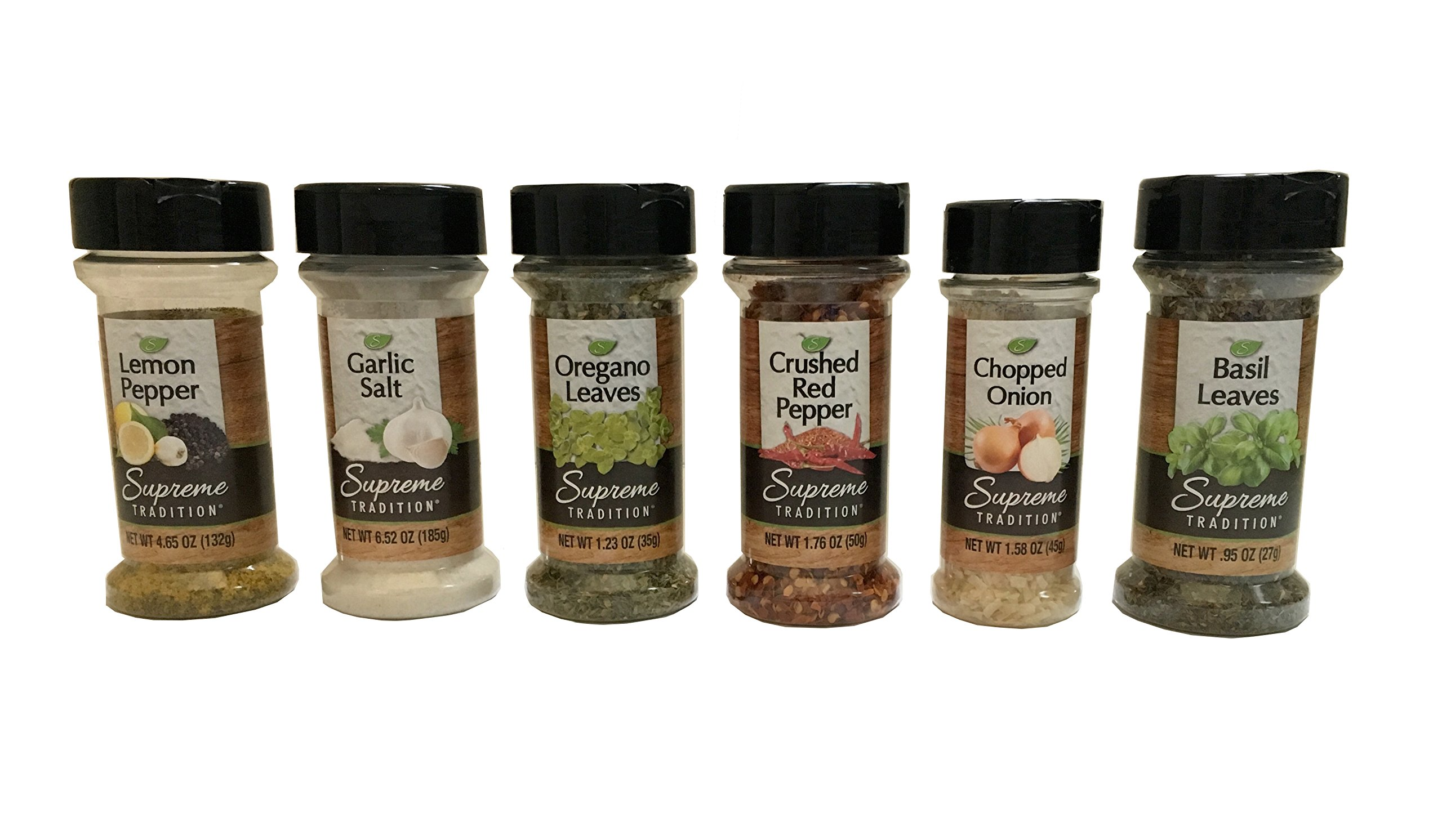 Supreme Spice Starter Set #2 with 6 Essential Spices for Cooking Basics – 6 Piece Spice Gift Set Includes Lemon Pepper, Garlic Salt, Oregano Leaves, Crushed Red Pepper, Chopped Onion and Basil Leaves