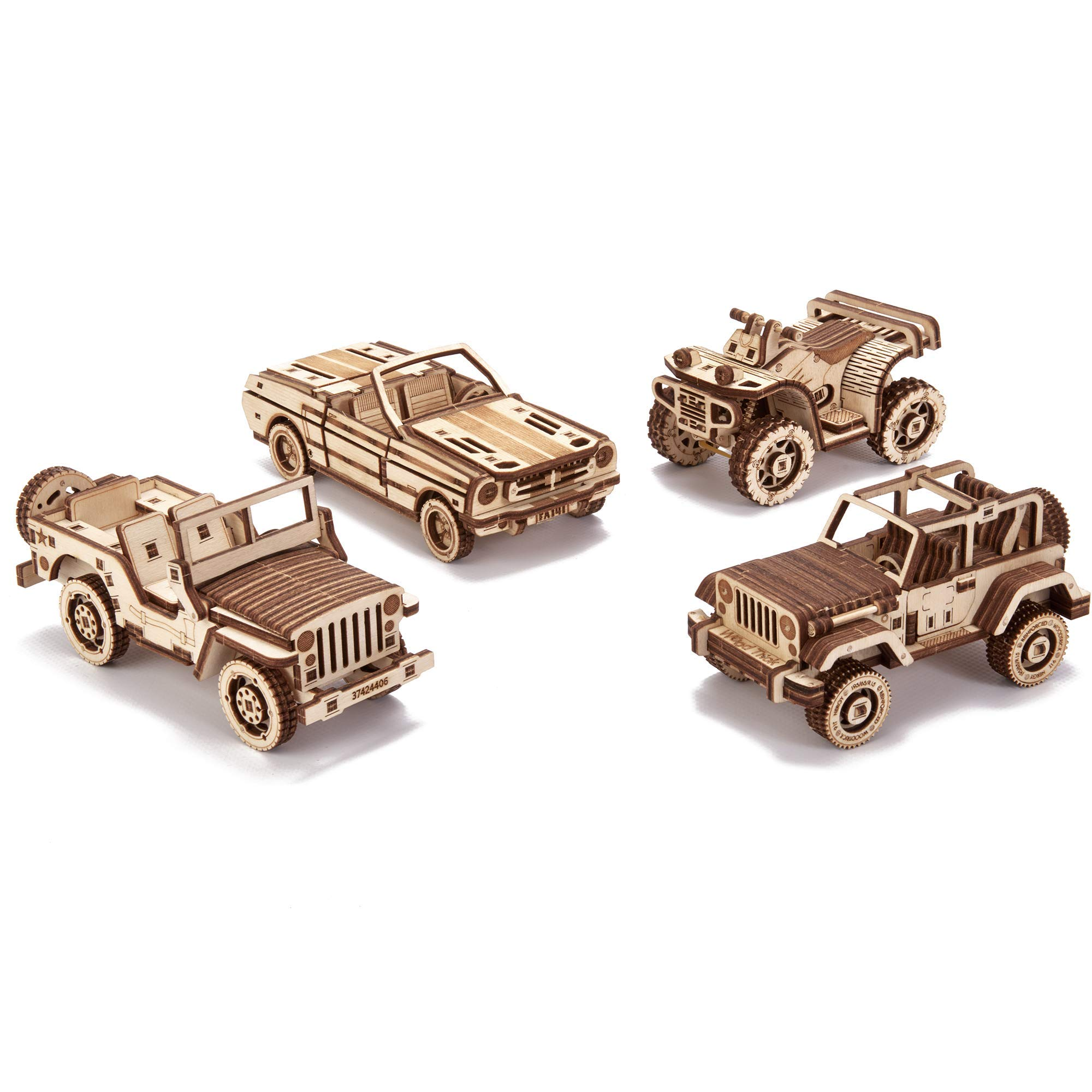 Wood Trick 4-Pack Mechanical Model Cars Kits to Build - Jeep, ATV, Cabriolet, Safari - Set of Cars Playset - Moving Parts - 3D Wooden Puzzle, Assembly Constructor, Brain Teaser for Kids and Adults by Wood Trick