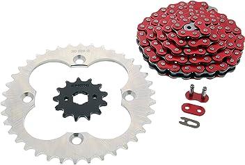 98-02 Fits Honda Sportrax 300EX TRX300EX Non O-Ring Red Chain /& Black Sprocket 14//38