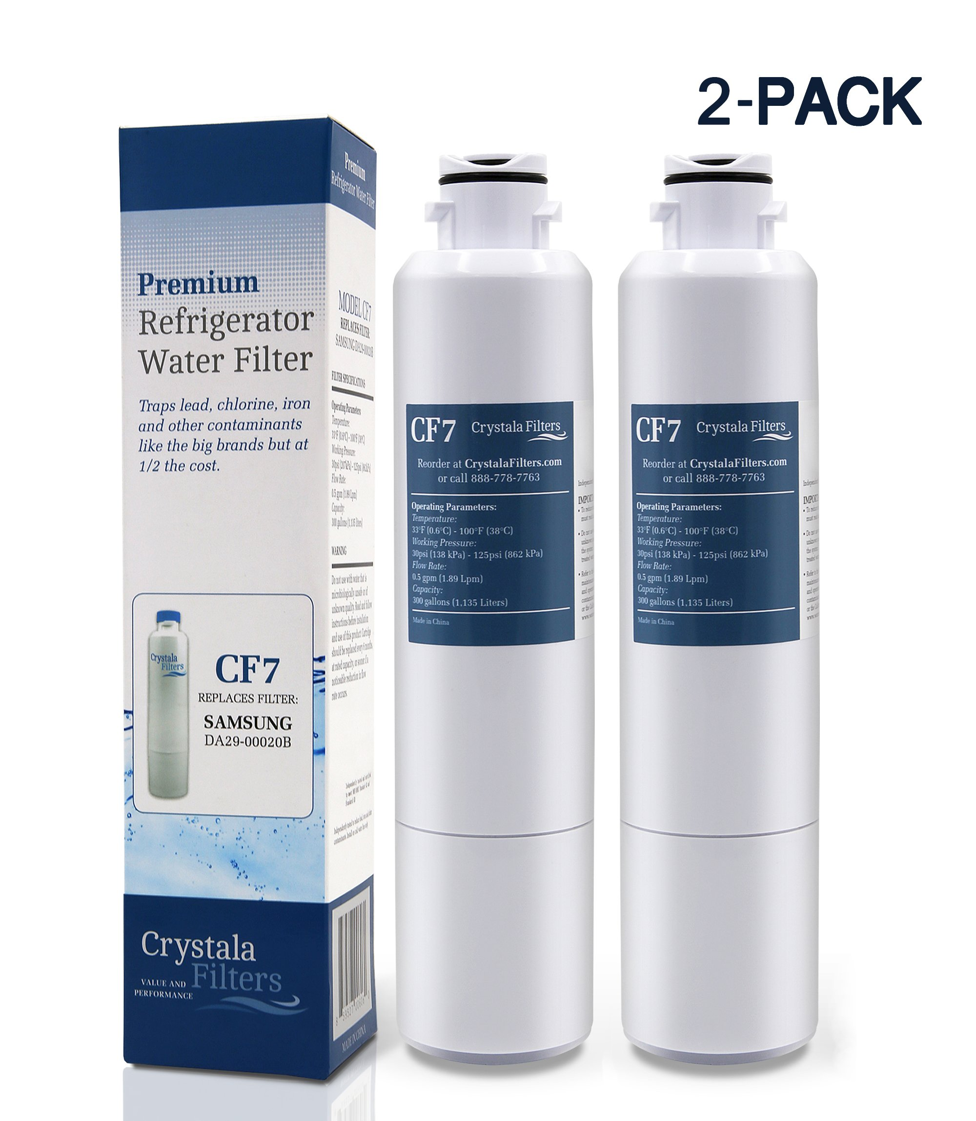 Samsung DA29-00020B Refrigerator Water Filter Replacement for DA29-00020B, DA29-00020A, HAF-CIN/EXP, 46-9101, By Crystala Filters, Pack of 2