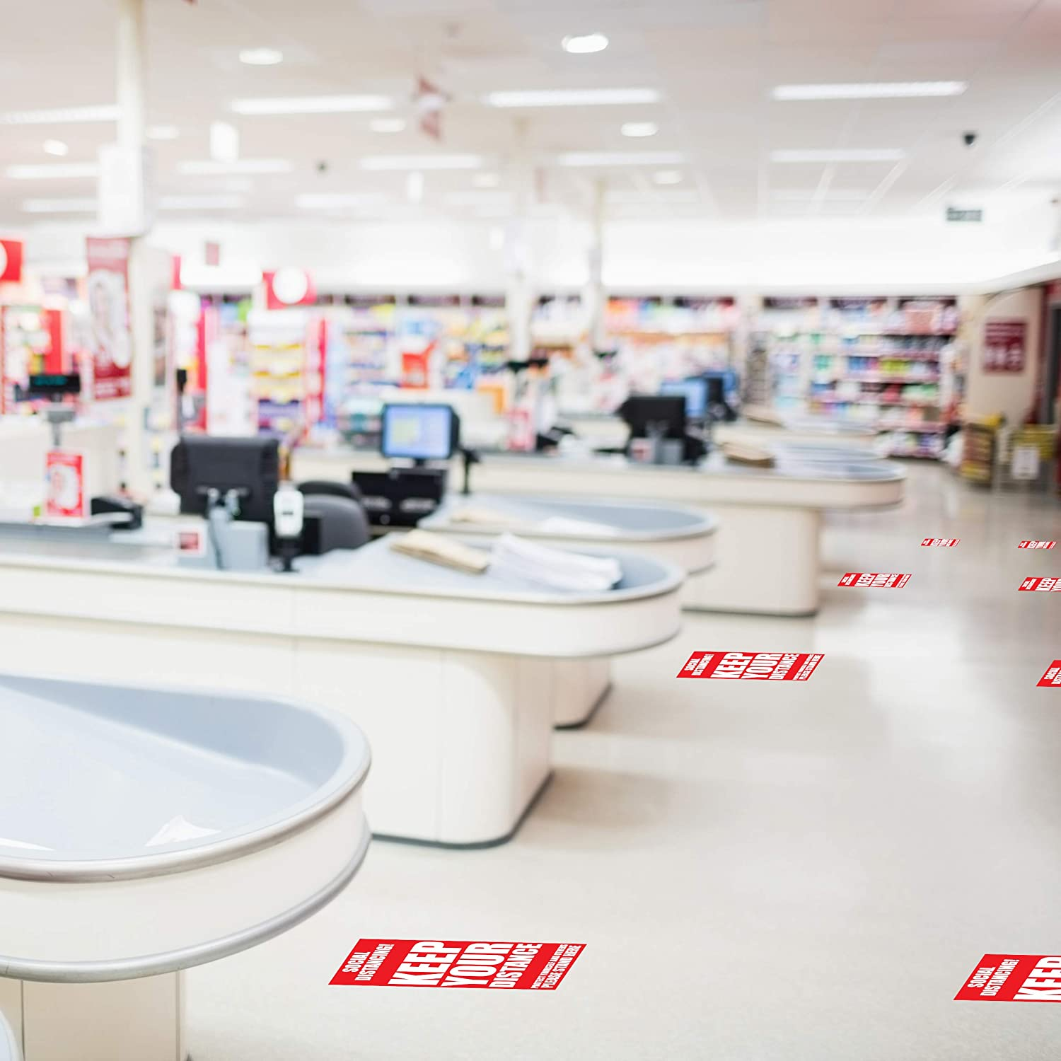 Banks 12 Decals 1 Pack Pharmacies 12 Pack for Groceries Social DistancingKeep Your Distance Stand Here Line Crowd Control Floor Sticker Decals and Queues