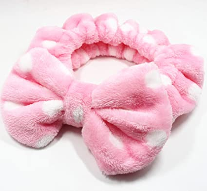 Flying Beauty Super Cute Elastic Hairband Bowknot Cosmetics Towel Headband  for Washing Face and Makeup Soft Fluffy Colorful (Pink White Dots)